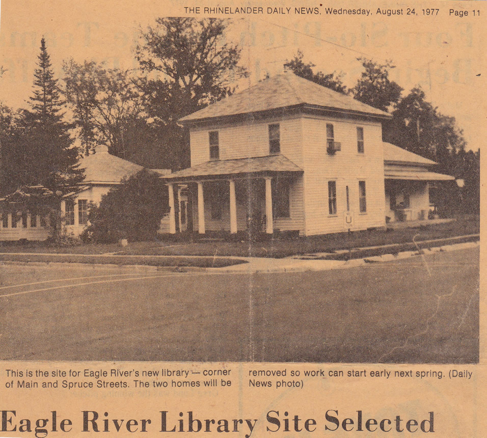The Roderick Home, courtesy of the Rhinelander Daily News, August 24, 1977. Now the site of the Olson Memorial Library.